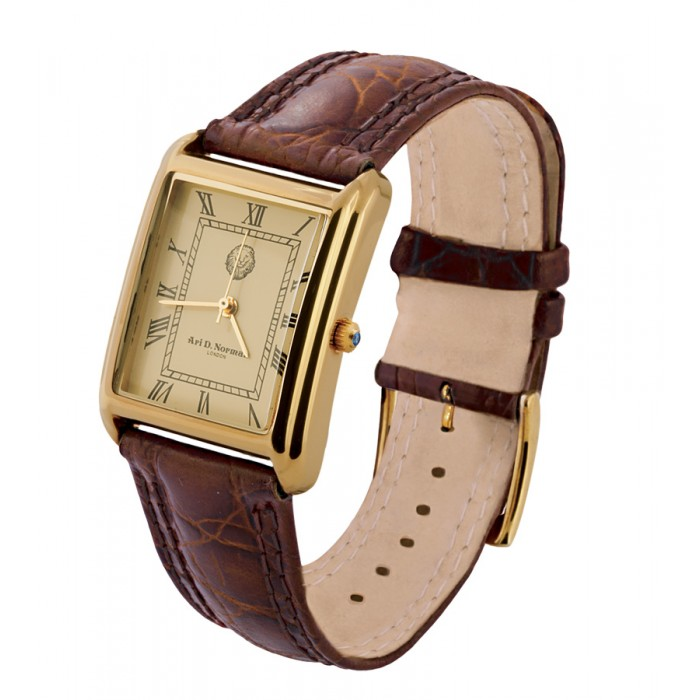 Gold Plated Silver Watch Rectangle Face Leather Strap