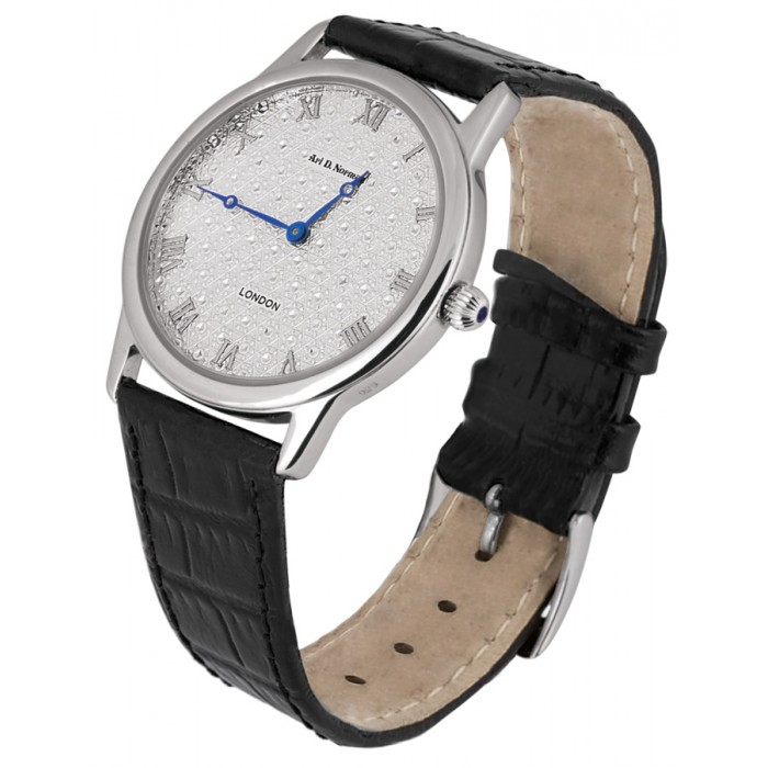 Sterling Silver Diamond Effect Unisex Watch with Leather Strap