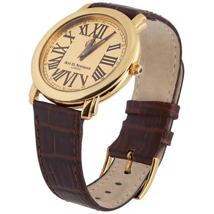 Gold Plated Silver Watch Round Face Leather Strap
