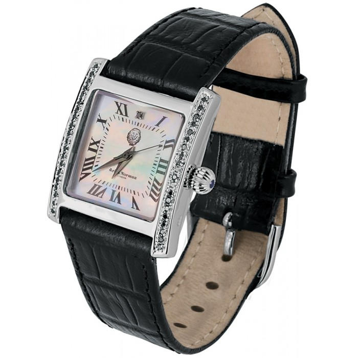Silver Diamond Watch Rectangle Face Leather Strap