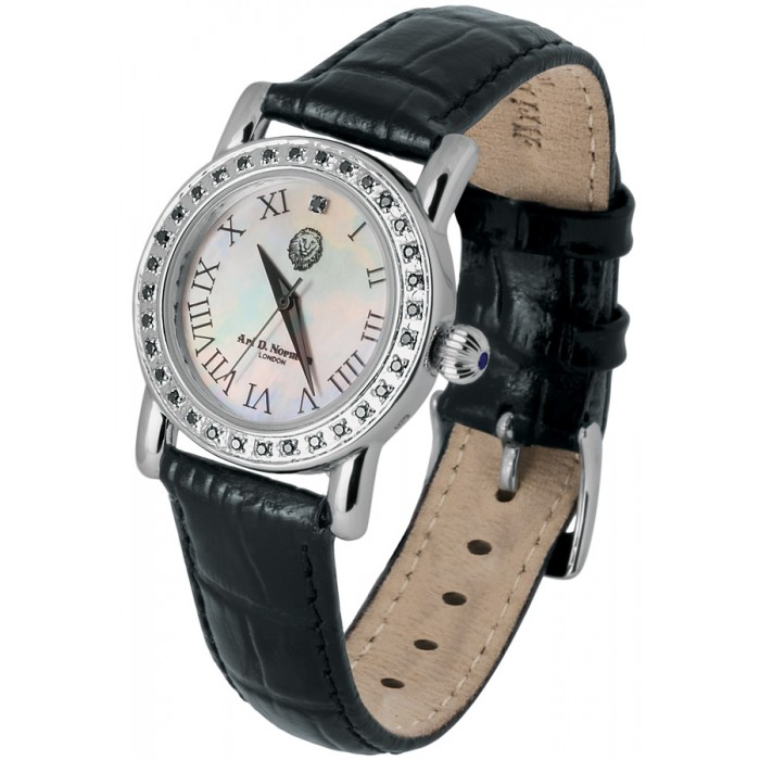 Sterling Silver Diamonds Set Watch Round Face Leather Strap