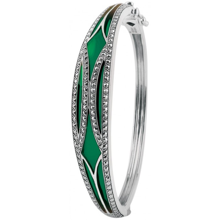 Sterling Silver Green Enamel Bangle