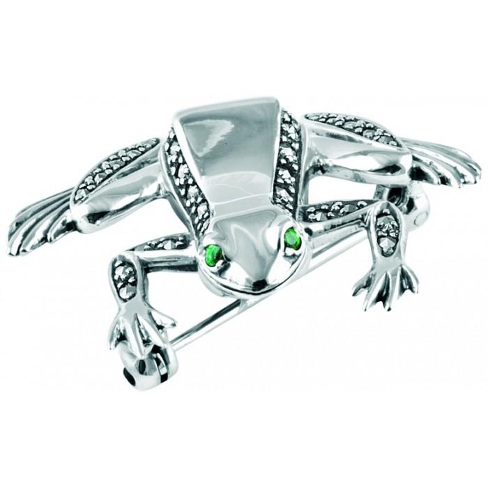 Sterling Silver Marcasite Emerald Set Frog Brooch