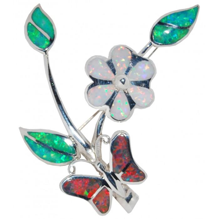Sterling Silver Opal Flower Brooch