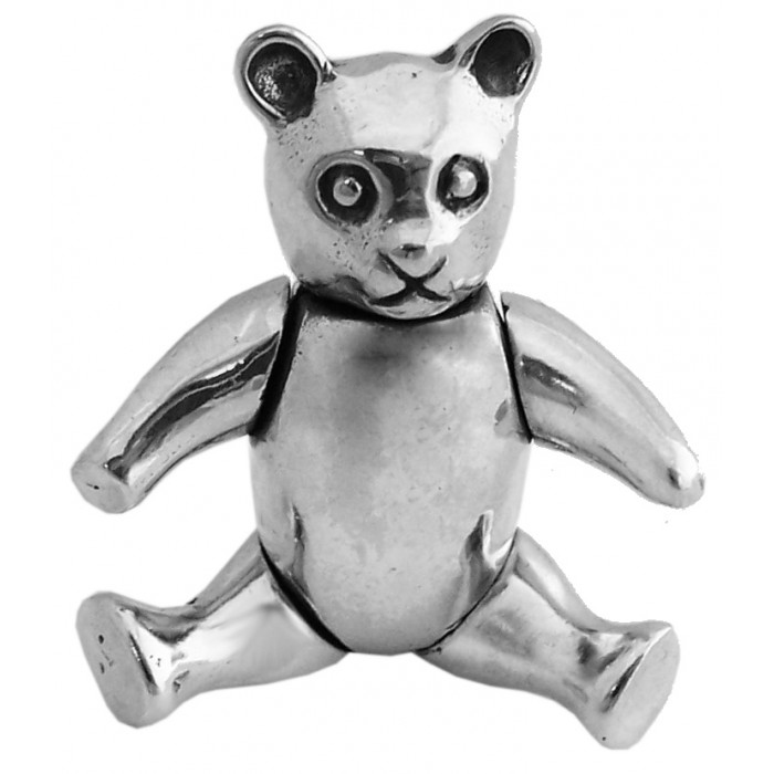 Solid Sterling Silver Movable Teddy Brooch