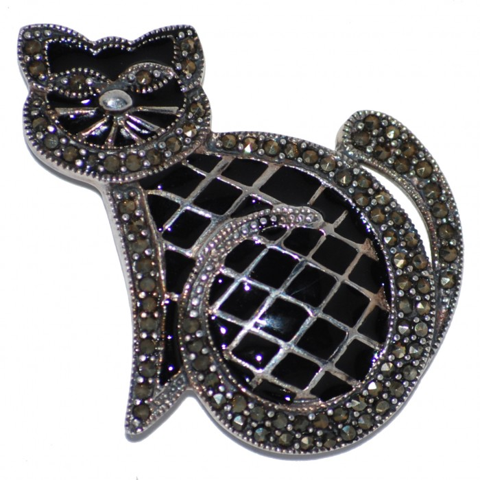 Sterling Silver Black and White Cat Brooch