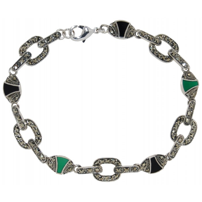 Sterling Silver Marcasite Onyx And Green Agate Art Deco Bracelet