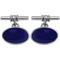 Blue Enamel Oval Cufflinks