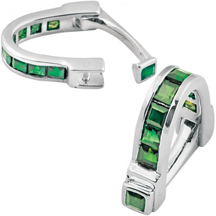 Sterling Silver Green CZ Wrap Around Cufflinks