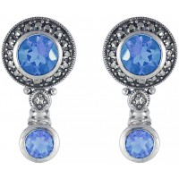Marcasite Aquamarine Earrings