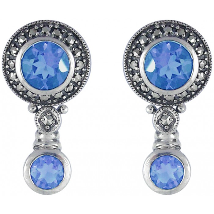Sterling Silver Marcasite Aquamarine Earrings