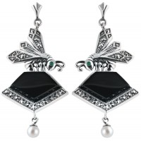 Art Nouveau Onyx Earrings