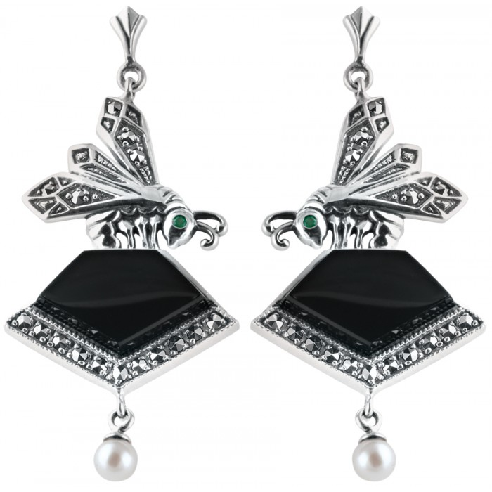 Sterling Silver Art Nouveau Onyx Earrings