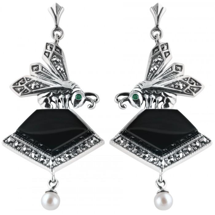 Sterling Silver Art Nouveau Onyx Earrings