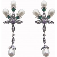 Marcasite Pearl Floral Earrings