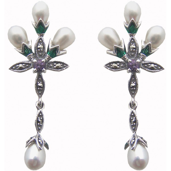 Sterling Silver Marcasite Pearl Floral Earrings