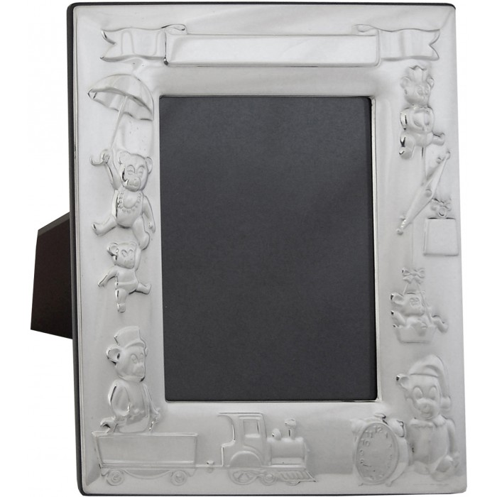Sterling Silver Baby Photo Frame With Mahogany Finish Back