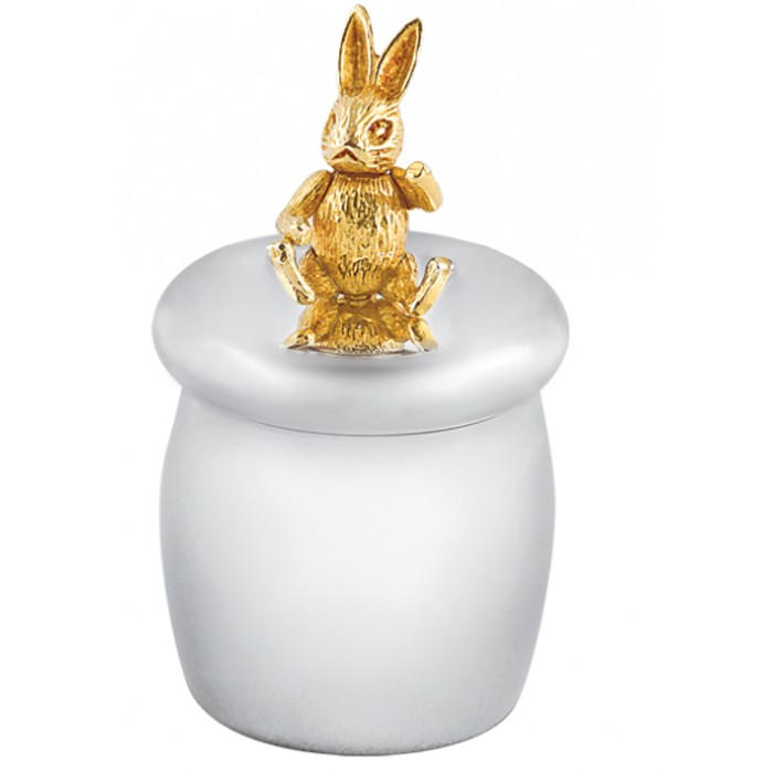 Sterling Silver Tooth Fairy Box With Gold Plated Moving Rabbit
