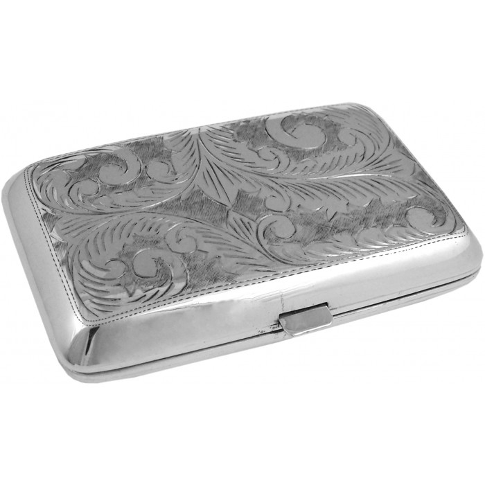 Sterling Silver Engraved Cigarette Case