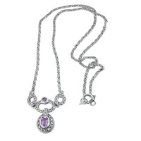 Marcasite Amethyst Art Nouveau Necklace