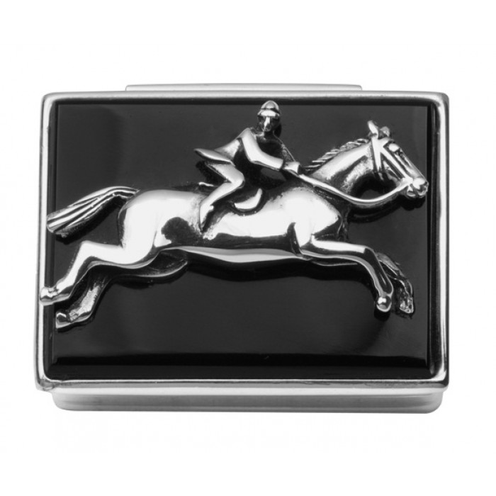 Sterling Silver Onyx Horse Rider Pill Box
