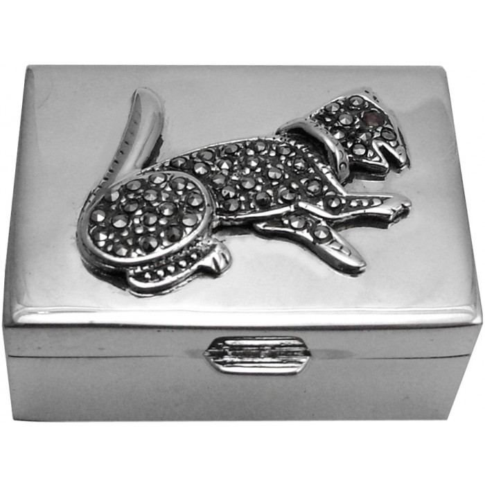 Sterling Silver Marcasite Cat Pillbox
