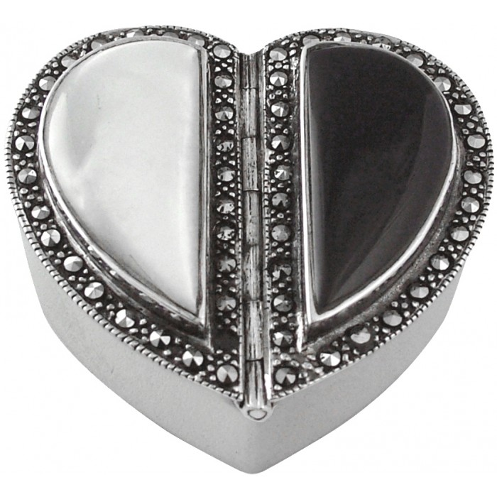 Sterling Silver Heart Pillbox Mother Of Peal And Black Onyx