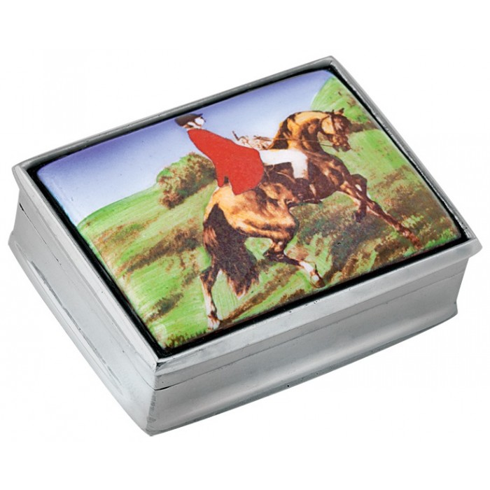 Sterling Silver Fox Hunting Picture Pill Box