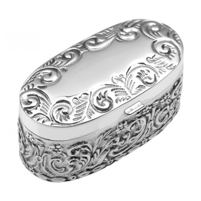 Sterling Silver Edwardian Embossed Pill Box