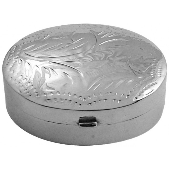 Sterling Silver Oval Engraved Pill Box