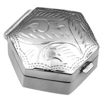 Hexagonal Engraved Pill Box