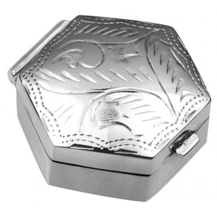 Sterling Silver Hexagonal Engraved Pill Box