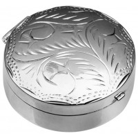 Medium Round Hinged Pillbox With Hand Engraved Victorian Pattern