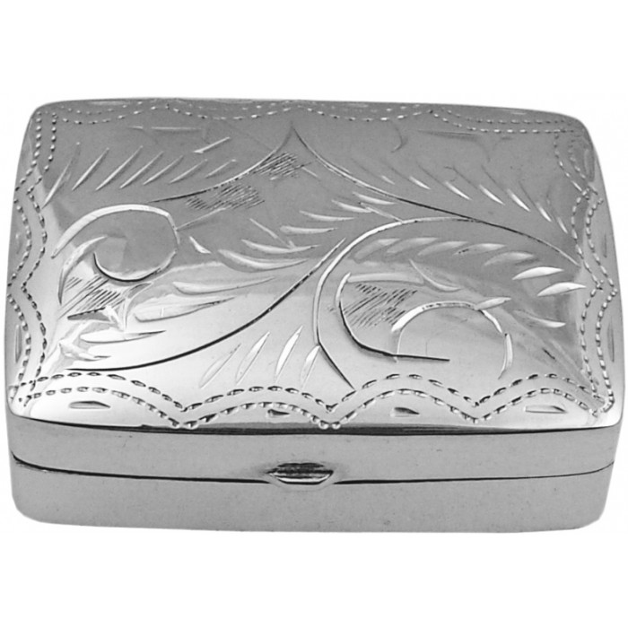 Sterling Silver Engraved Pillbox