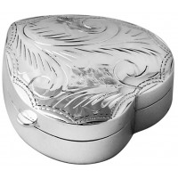 Medium Heart Hinged Pillbox With Hand Engraved Victorian Pattern