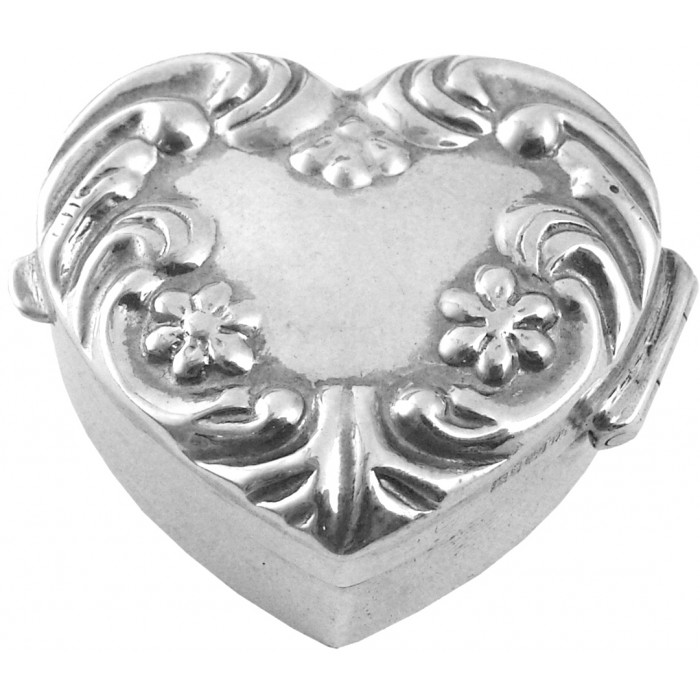 Sterling Silver Embossed Heart Pillbox