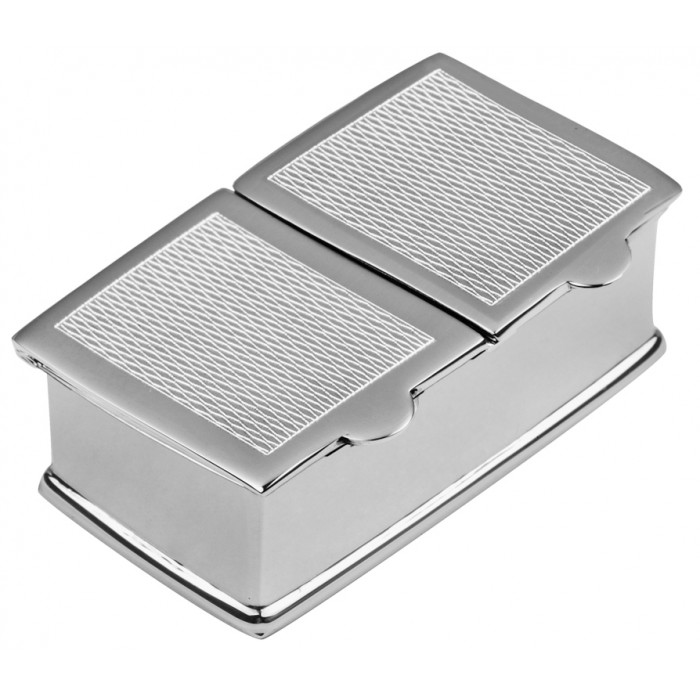 Sterling Silver 2 Piece Rectangle Barley Pill Box