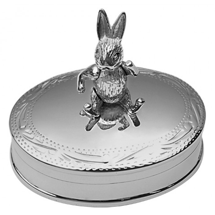 Sterling Silver Pillbox With Moving Rabbit