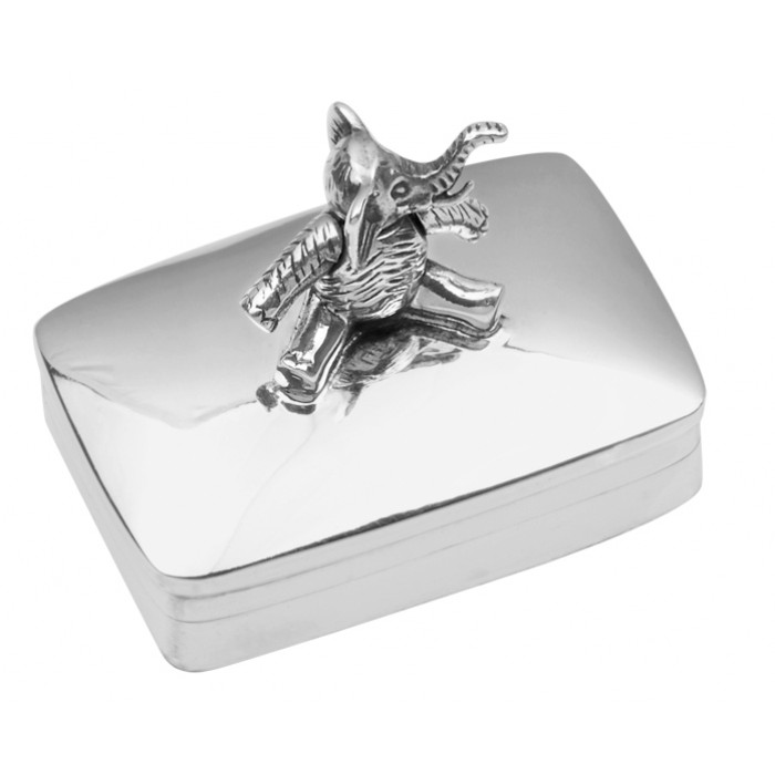 Sterling Silver Pillbox With Moving Elephant