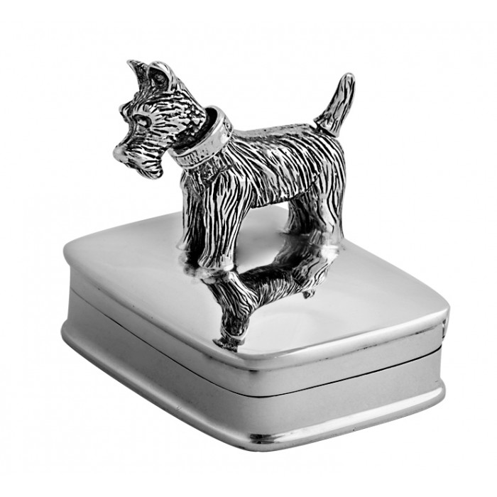 Sterling Silver Pillbox With Moving Scottie Dog