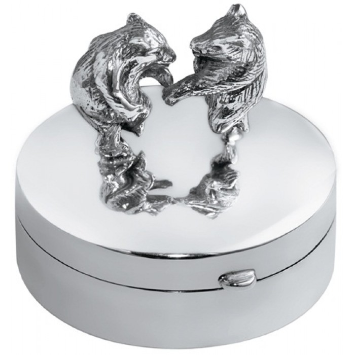 Sterling Silver Pillbox With Dancing Bears