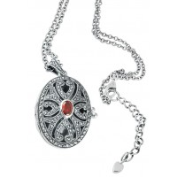 Oval Marcasite Locket Pendant