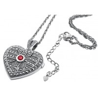 Marcasite Heart Locket Pendant