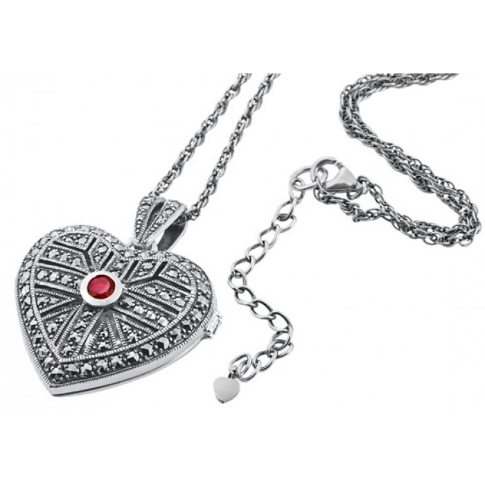 Sterling Silver Marcasite Heart Locket Pendant
