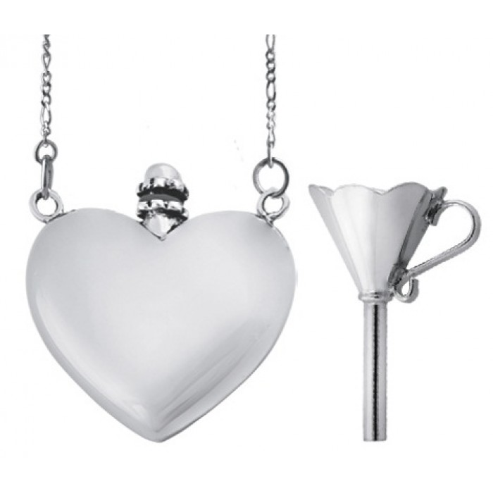 Sterling Silver Small Heart Perfume Bottle Pendant