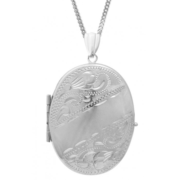 Sterling Silver Oval Locket Holds Four