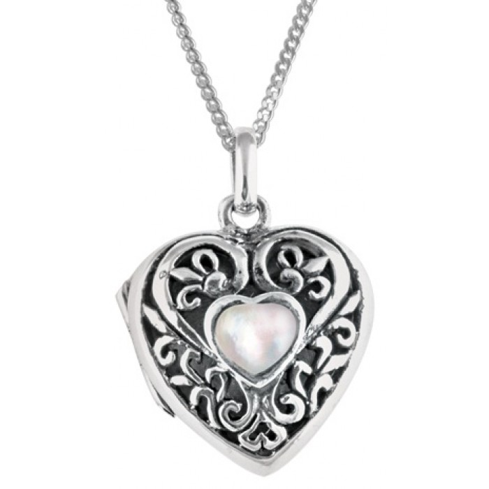 Sterling Silver Heart Shaped Locket Pendant