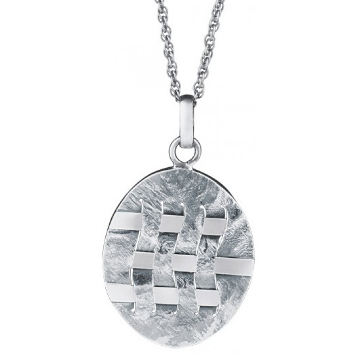 Sterling Silver Woven Hatch Design Pendant With Chain