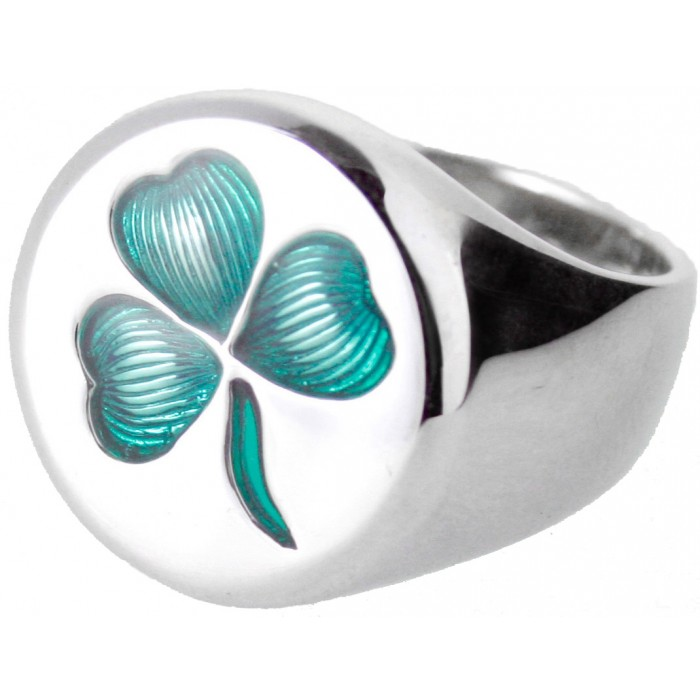 Sterling Silver Enamel Irish Clover Ring