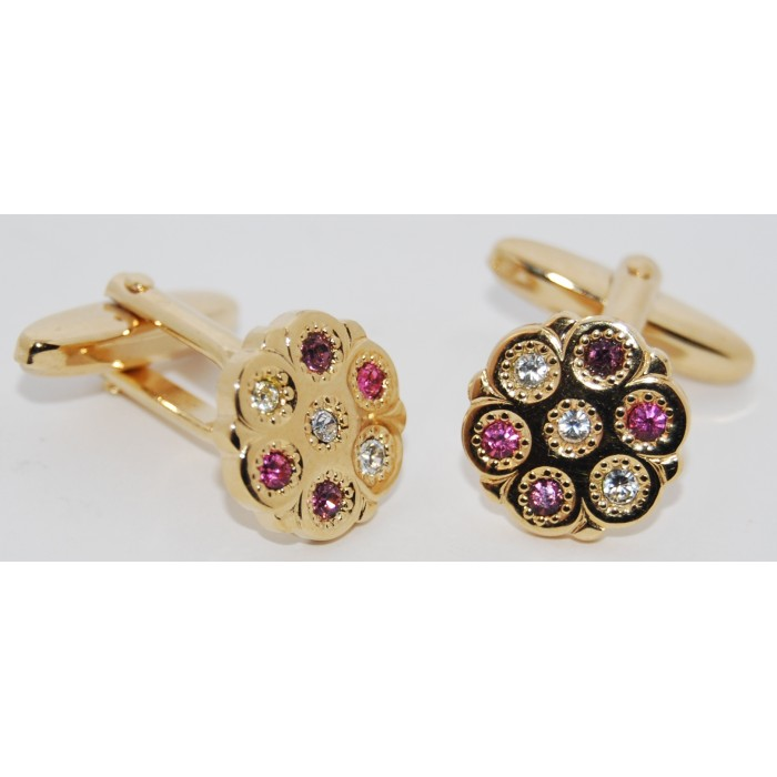 Gold Plated Pink And White Crystal Cufflinks